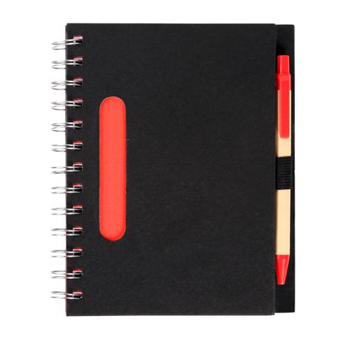 Libreta ecologica negra, con detalles a color, incluye pluma, Medidas 17.5 x 13.5