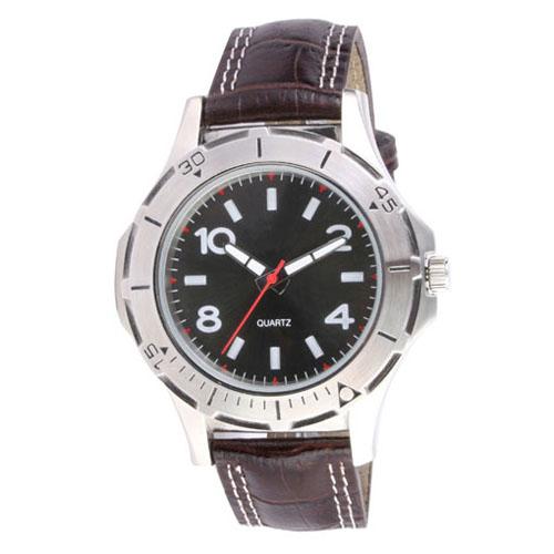 Reloj de pulso con caja metalica, con numeros grabados , correa de piel italiana, maquinaria metalica japonesa de alta precision  y estuche metalico individual. Medidas 23.5 x 4.5
