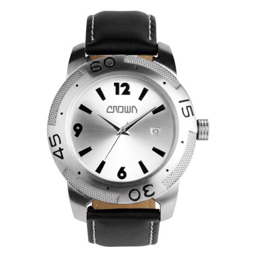 Reloj de pulso con caja metalica  plateada y arillo giratorio, correa de piel negra, maquinaria metalica japonesa de alta precision. Incluye estuche metalico individual. Medidas 24.3 x 4.5 cm