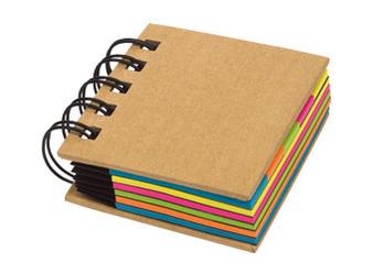 Memo Box Espiral incluye 10 blocks adhesivos, 5 rectangulares grandes y 5 tipo banderitas de color , con espiral metalico Medidas : 7 x  7.5 x 2 cm