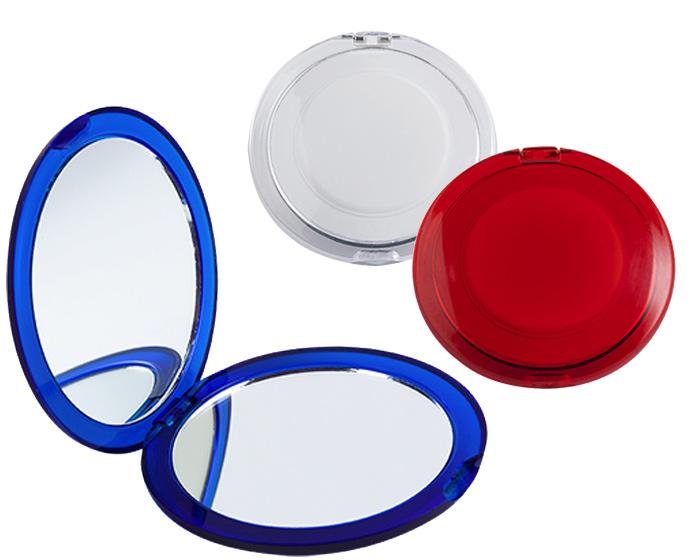 Espejo Fanny dual de  plastico translucido con espejo normal y otro de aumento.  Medida: 6.6 x 1 cm