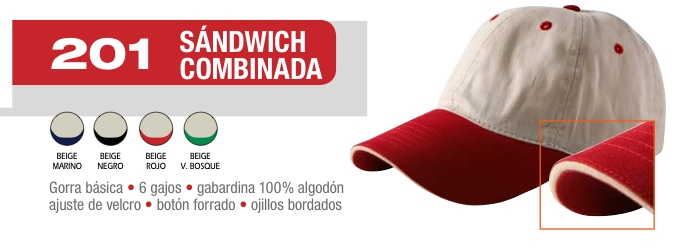 GORRA SANDWICH GABARDINA CON VIERA COMBINADA 100% ALGODON
