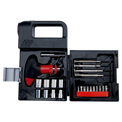 Estuche de herramientas, que incluye lampara y 24 accesorios. Medias: 20 x 12 cm