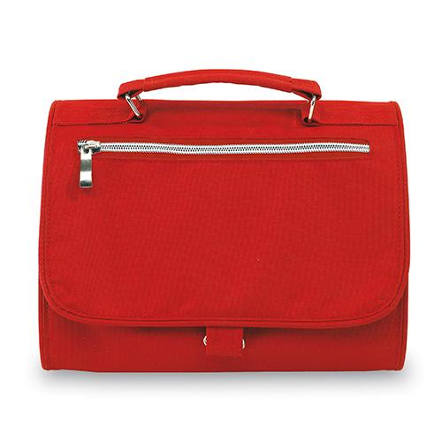 Necessaire Daily Colgante. Su bolso exterior con cierre, 2 compartimentos interiores, de los cuales uno es desprendible, con cierre de velcro.  Medidas  25 x 8 x 18 cm cerrado / 25 x 59 cm abierto.