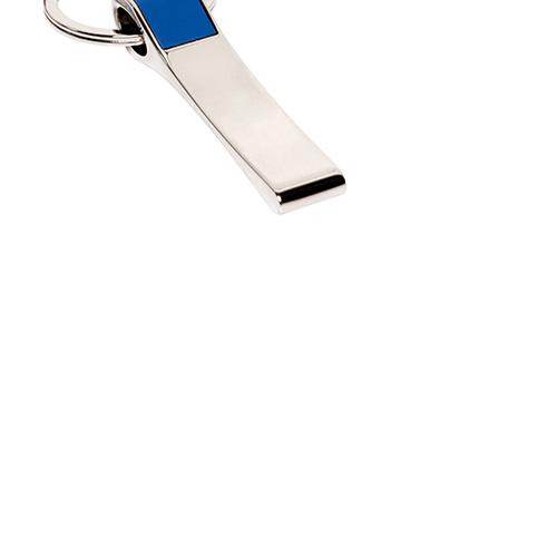 Llavero Symon con diseno plano con detalle de goma en color en la parte superior. Medida 6,3 x 1,4 cm.