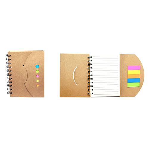 Libreta Yoker de papel recliclado con notas adhesivas  y pluma. Incluye 70 hojas. Medidas: 15.5 X 12 cm