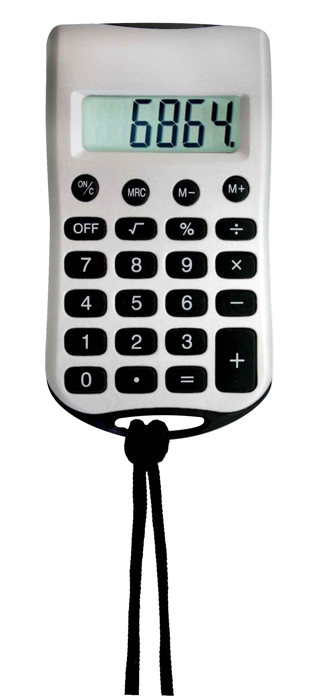 Calculadora Texas, de bolsillo con cordon. Medidas: 9.8 x 5.3 CM
