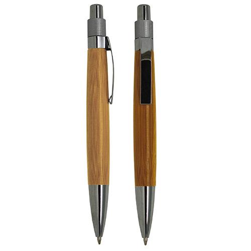Boligrafo Bambu es ecologico, su cuerpo es de bambu con clip metalico. Medidas: 13 x 1.3 CM