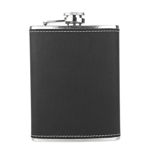 LICORERA TOSCANA (Incluye caja negra de regalo.) Material: Acero inoxidable/curpiel, Medidas:  10 x 12.5 cm