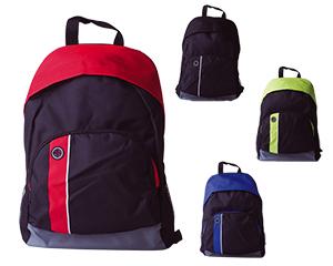 Mochila tipo backpack con respaldo acolchado, correas ajustables con protecci�n reforzada, cierre oculto semicircular corrido, bolsa exterior con cierre y mallas laterales para botellas, termos, etc.