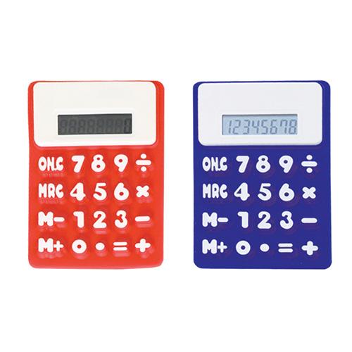 Calculadora Silicon, es flexible, con  8 digitos de botones gigantes e iman para colocar en superficies metalicas Bateria incluida. Medidas 15.5 x 9.7 x 0.8 cm