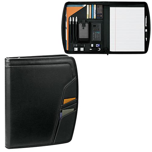 Carpeta Precision con cierre. bolsillo frontal con compartimentos de tarjetas de presentacion, calculadora solar de 2.25