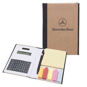 Libreta ecol�gica de bolsillo con calculadora, notas adheribles y bol�grafo de tinta negra.