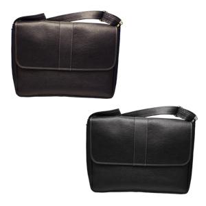 Porta laptop, fabricadoen curpiel e interior en gamuzina; incluye costura blanca,asa y broche de im�n en la tapa. Color: Caf�/Negro