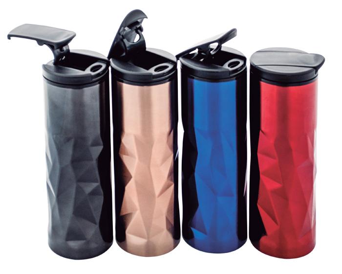 Termo metalico Ishtar,  con interior plastico, tapa enroscable hermetica, boquilla y tapa abatible con seguro. Capacidad de 470 ml. Medidas:  7 x 22 cm