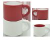 Duo de tazas Duppla, son bicolor, apilables. Capacidad de 12 oz. Medidas diametro  9.7 x 8 cm