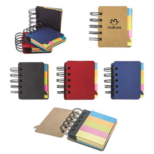 Mini block suajado en forma de mensaje con espiral met�lico, Incluye: Banderas y notas adhesivas de color Material Papel Reciclado Medidas 7 x 8.3 cm