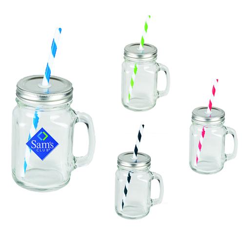 VASO DE VIDIRO 450ml FIZZ   Practico vaso de vidrio con asa y tapa de metal. Incluye popote de color para su eleccion.