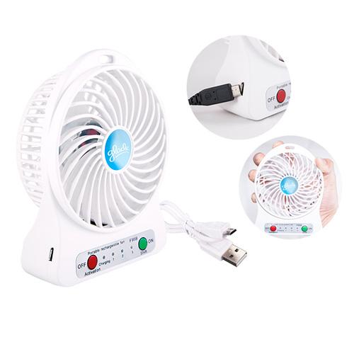 MINI VENTILADOR SUNNY BLANCO Mini ventilador portatil con 3 velocidades, recargable por puerto usb. El tiempo de operacion es de a 7.5 horas, segun la velocidad de funcionamiento:1= 7.5 hrs. 2= 3.5 hrs. 3= 2 hrs. Bateria recargable e intercambiable, refe
