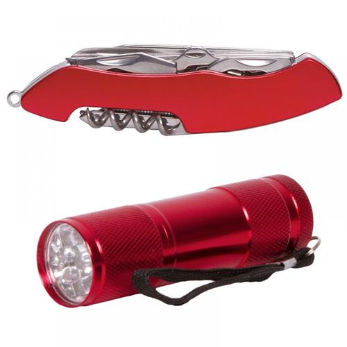 Juego de linterna de aluminio con 9 LEDs y navaja de bolsillo con 11 funciones.
