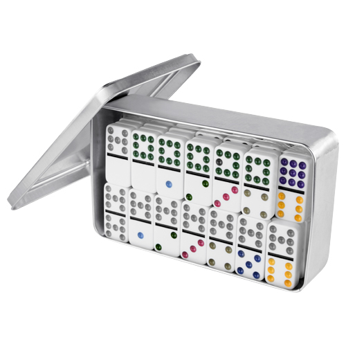 JUEGO DE DOMINO HABANA (Incluye estuche de aluminio con 1 base central de inicio y 55 piezas.)  MATERIAL: Estuche Aluminio / Fichas Plas  MEDIDA: 19 x 12 cm