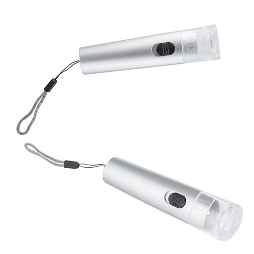 L�mpara en forma triangular con un LED, bot�n de encendido y apagado. Incluye correa de mano y bater�as.