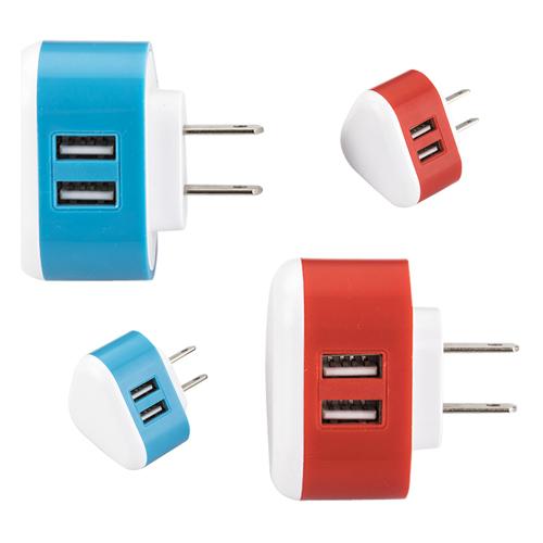 Adaptador de corriente con doble entrada  para USB,  compatible con dispositivos m�viles.
