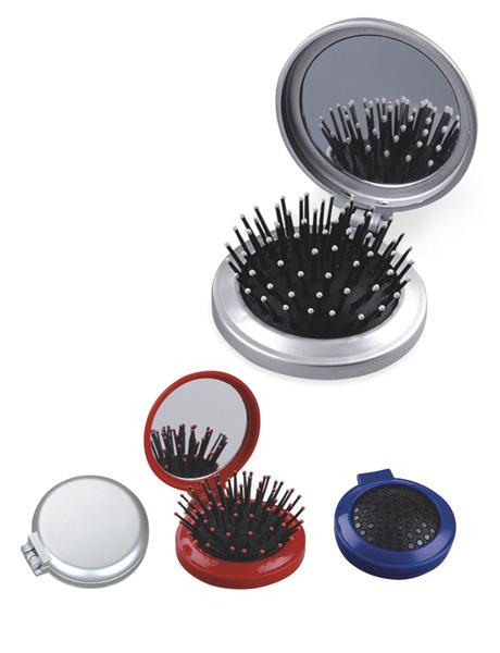 Cepillo Flipp, Estuche plegable de plastico, con cepillo y espejo, las puntas del cepillo se retraen al cerrarlo.  Medida: 6.5 x 1 cm