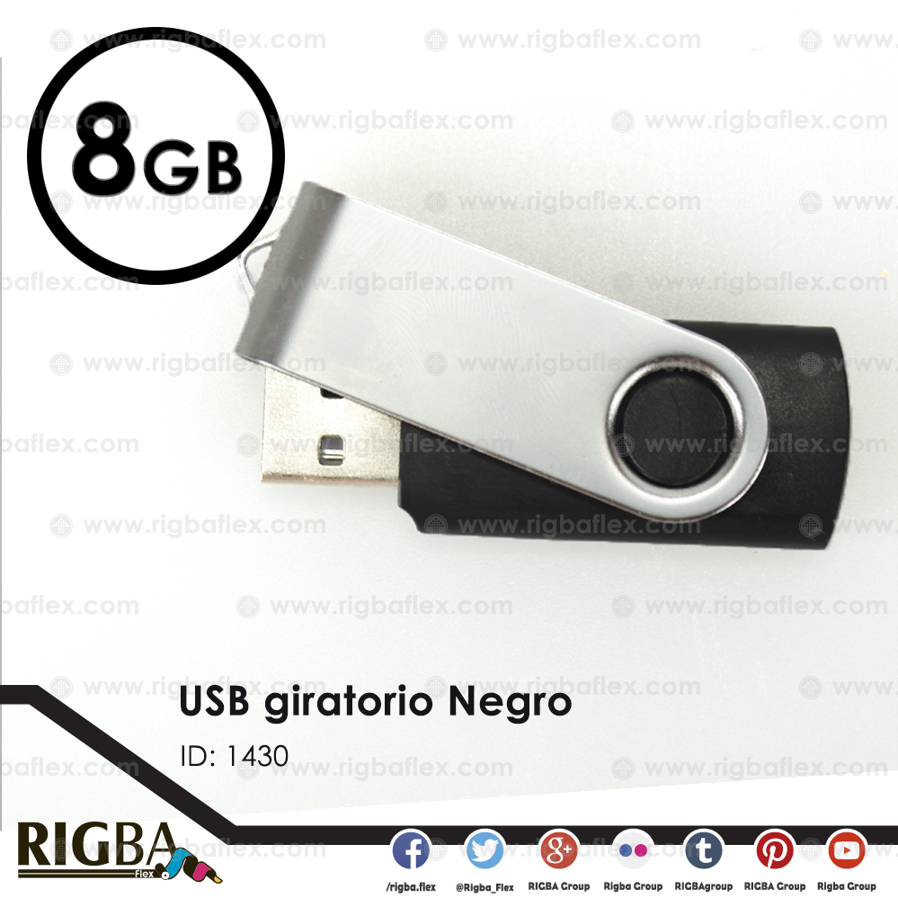 USB giratoria 8gb NEGRO