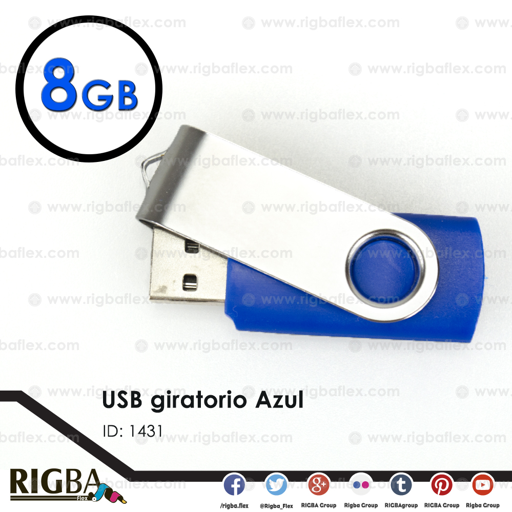 USB giratoria 8gb AZUL