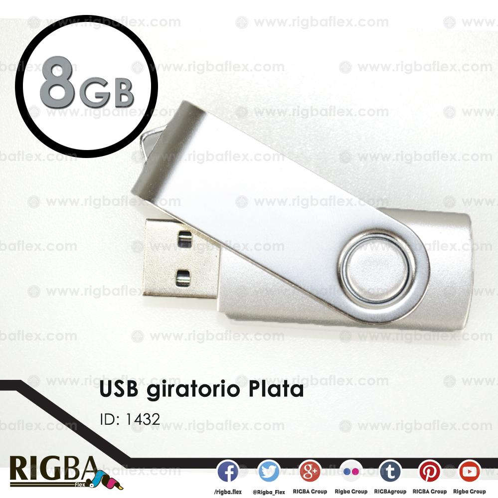 USB giratoria 8gb PLATA