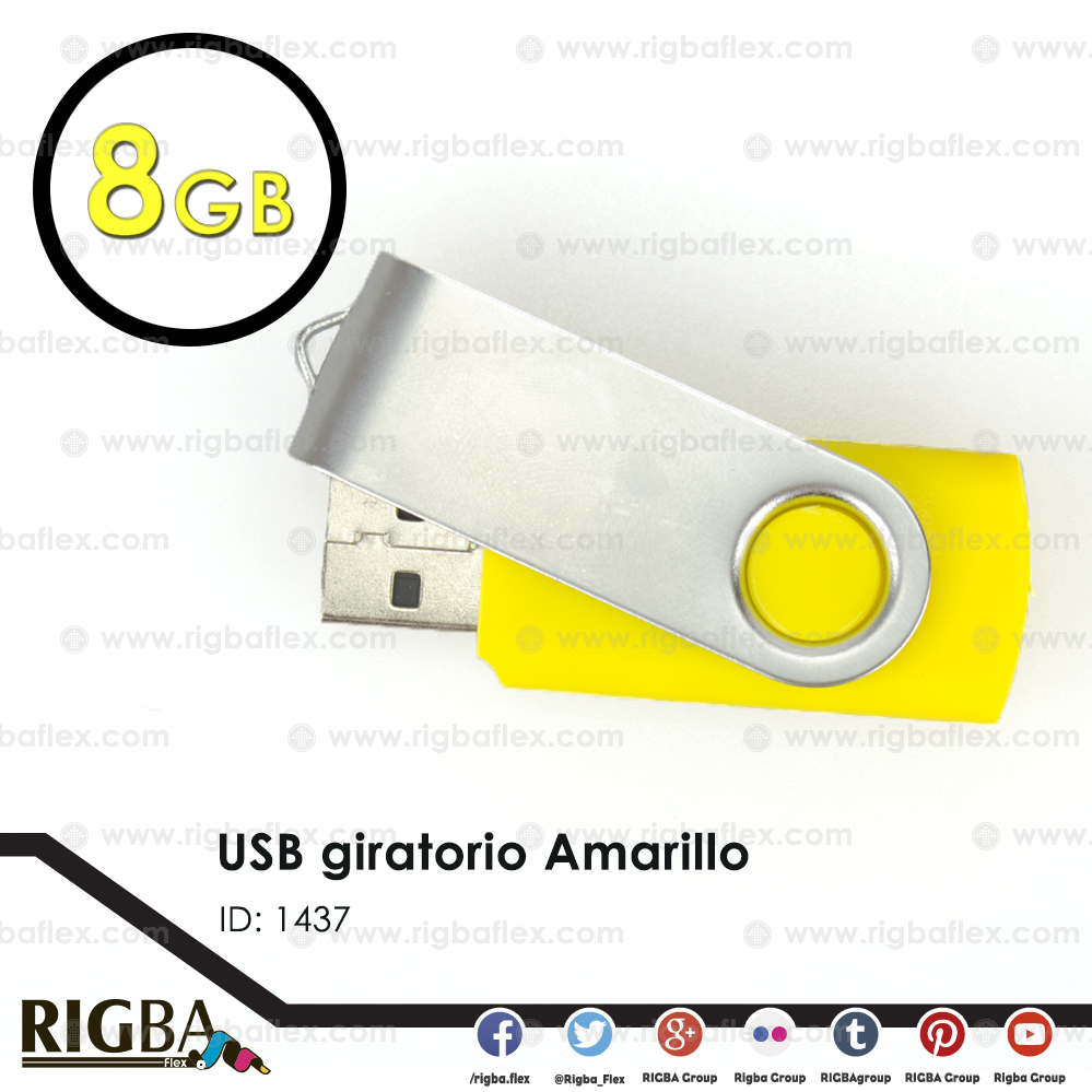 USB giratoria 8gb AMARILLO