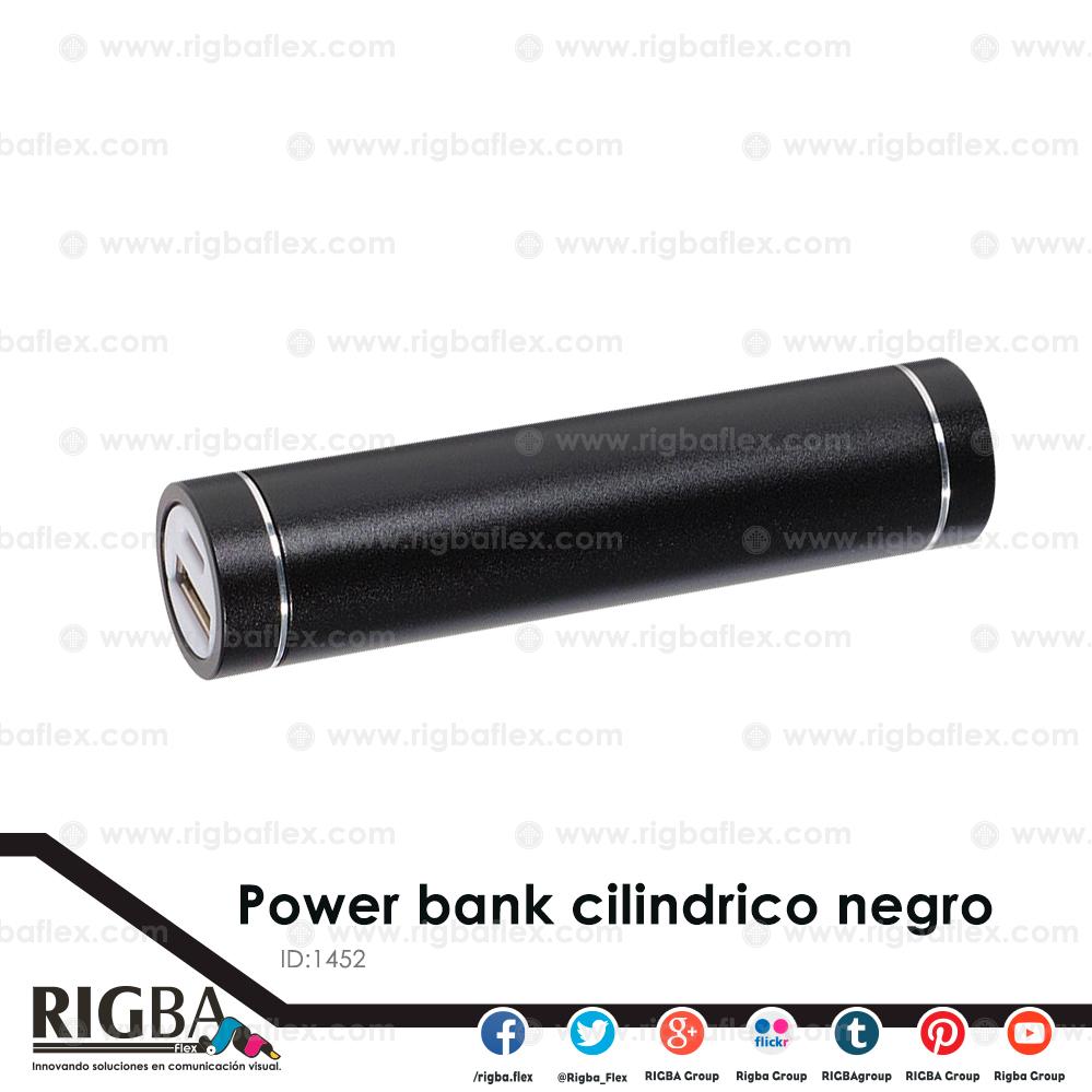 Power bank cilindrico NEGRO / 2600 mah. Incluye cable USB y 5 entradas para celular