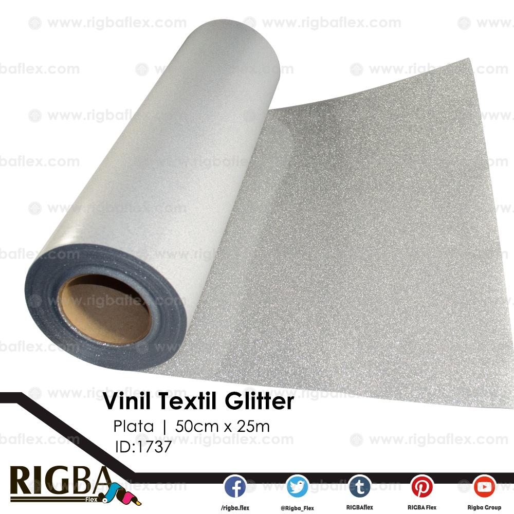 Vinil Textil de Detalle Glitter Plata .50m x 25m
