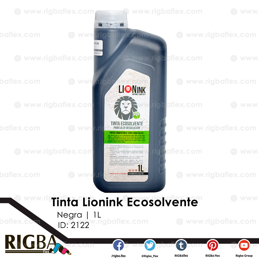 Tinta Lion Ink Eco Solvente para DX5 Alta Resolucion Negra 1Lt