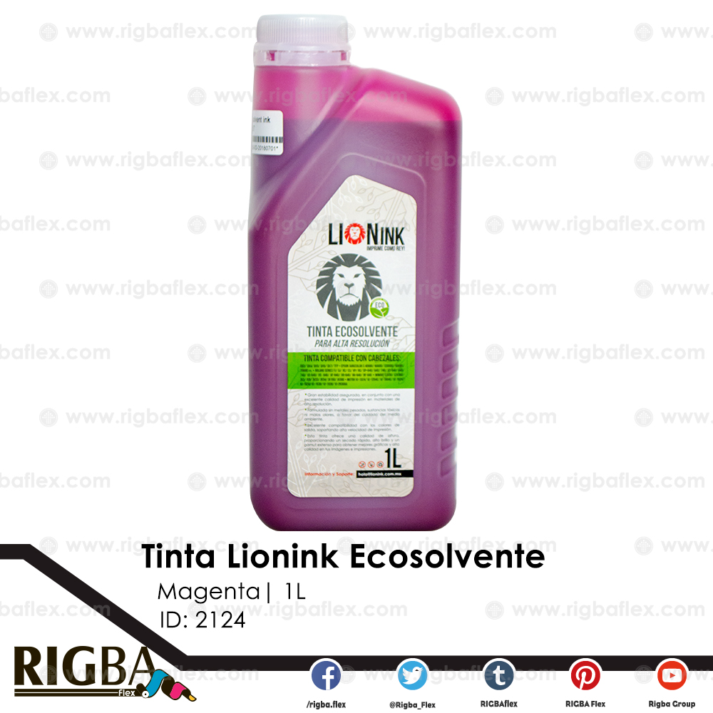 Tinta Lion Ink Eco Solvente para DX5 Alta Resolucion Magenta  1Lt