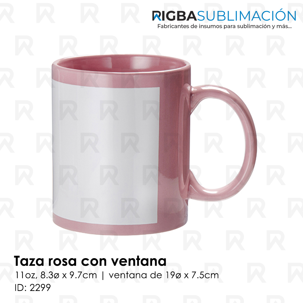 Taza 11oz color Rosa con ventana