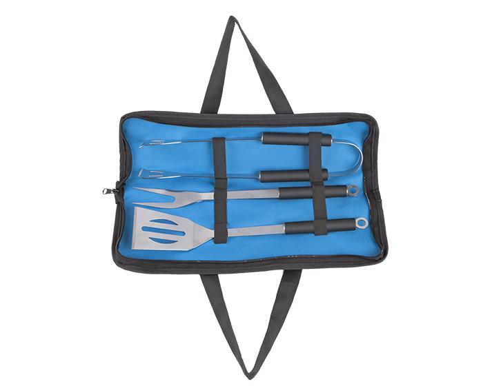Set para asado Mar y Tierra, portatil con utensilios para BBQ, contiene pinzas para carne, tenedor y volteador. Medidas  39 x 13.3 x 4 cm