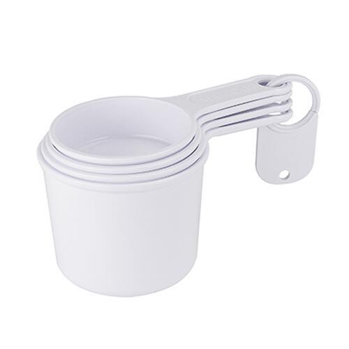TAZA MEDIDORA ZARY (Set de 4 tazas medidoras. Incluye las medidas: 1 taza, 1/2 taza, 1/3 taza y 1/4 taza. Incluye placa platica para impresion.) Material: Plastico, Medidas: 8 x 7 cm