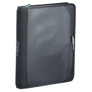 Carpeta porta tablet Zoom, con de cierre, estuche porta Tablet removible, 2 sujetadores para USB o plumas, bolsillo con fuelle para documentos, bolsillo para smartphone, espacio para documentos. cuaderno Zoom de espiral. Medidas 27.9x22.9x3.2 cm