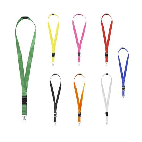 ESPIRO Cinta portagafete con broche de seguridad, clip desmontable de pl�stico y gancho met�lico. Medida: 1.3 x 88.0 cm. Material: Poliester