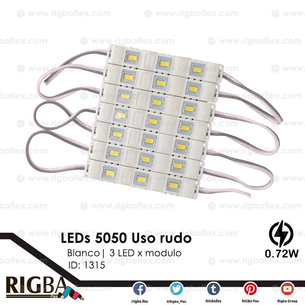 5050 LED 3 Diodos SMD Uso Rudo Alto Blanco .72w