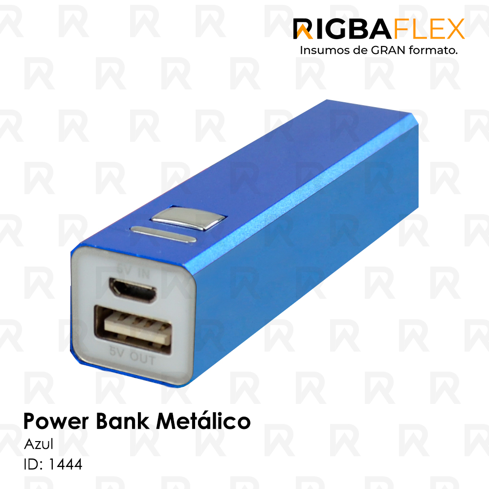Power bank Aluminio AZUL rectangular / 2600 mah. Incluye cable USB y 5 entradas para celular