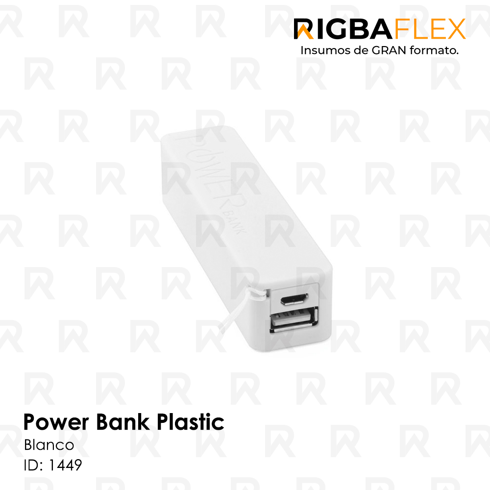 Power bank plastico BLANCO rectangular / 2600 mah. Incluye cable USB y 5 entradas para celular