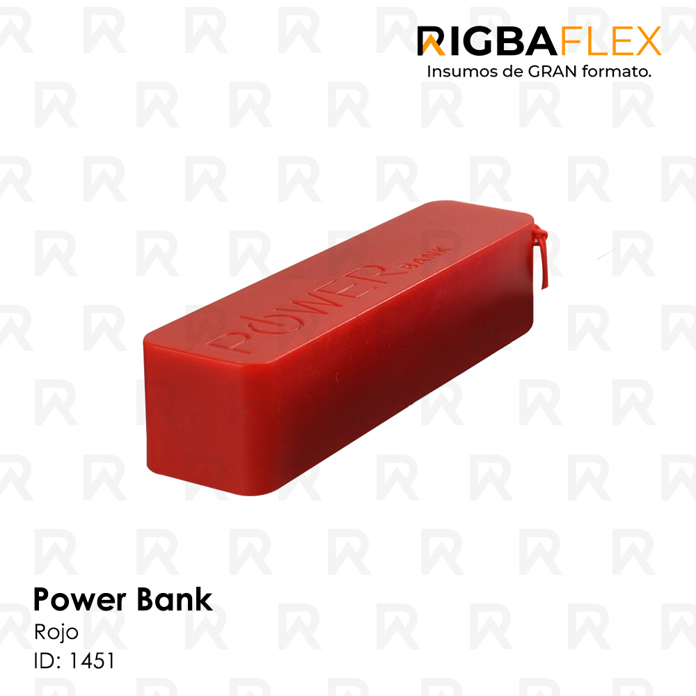 Power bank plastico ROJO rectangular / 2600 mah. Incluye cable USB y 5 entradas para celular